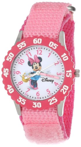 Disney Kids' W000024 Minnie Mouse Time Teacher Stainless Steel Watch with Pink Nylon Band - English Teacher Watch