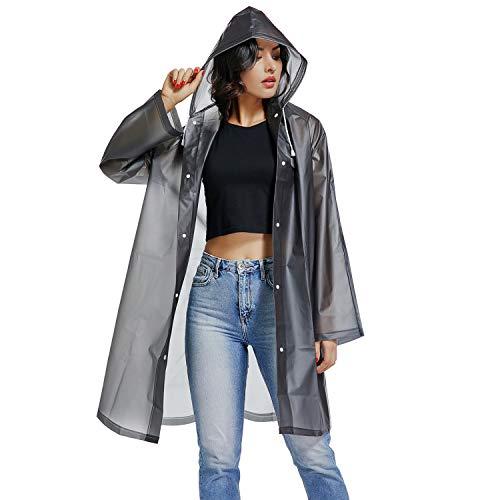 UNIQUEBELLA EVA Raincoat Waterproof Rain Poncho Reusable Unisex Men Women Long Rain Cape M (Ladies Rain Poncho)