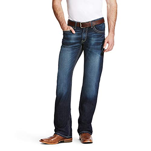 ARIAT Men's M4 Low Rise Adkins Stretch Boot Cut Turnout Size 28W X 30L Button Fly Tinted Jeans