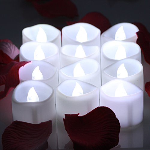 OMGAI LED Tea Lights Candles With Timer Battery Operated Candle Unscented Flameless Flickering Electric Tealight, 60+ Hours of Lighting for Home Decor, Set of 12 - Cool White (Tealight Flickering Timer compare prices)