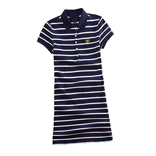 - Teeuiear Women Embroidery Polo Striped Print Summer T Shirt Dress Slim Casual Mini Sport Dresses (XL, Q896 Navy)