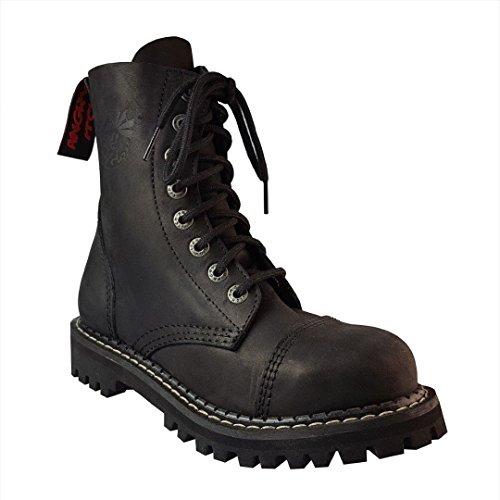 Angry Itch 8 Agujeros Botas de Cuero Militares Color Negro Vintage Puntera de Acero hebilla Punk
