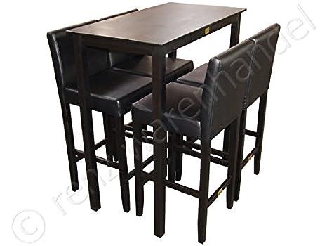 Grande barset nero 4 sgabello da bar con bar tavolo set tavolo