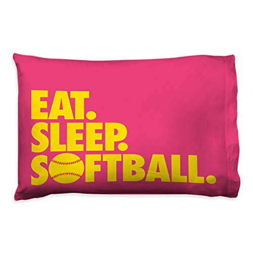 Eat Sleep Softball Pillowcase | Softball Pillows by ChalkTalk Sports | ()