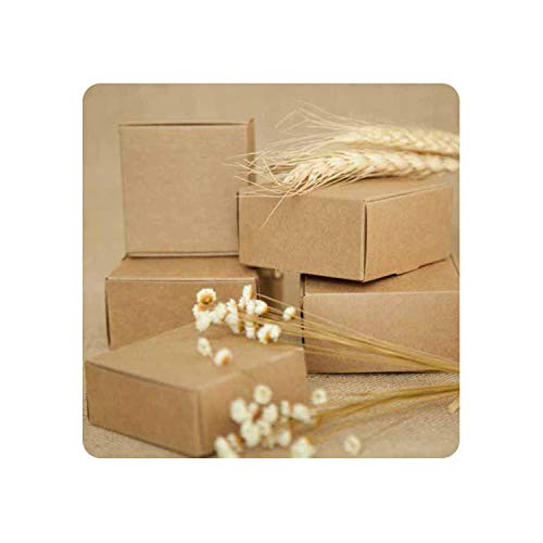 Geminilee Kraft Paper Box Gift Box for Wedding Favors Birthday Party Candy Cookies Christmas Party Gift Ideas Box,Brown,7.5X7.5X3cm -