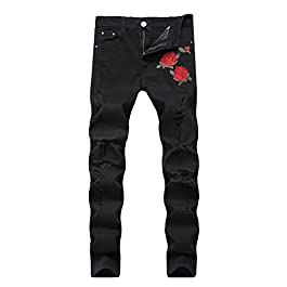 FEESON Men's Straight Leg Slimming Fit Distressed Loose Denim Jeans
