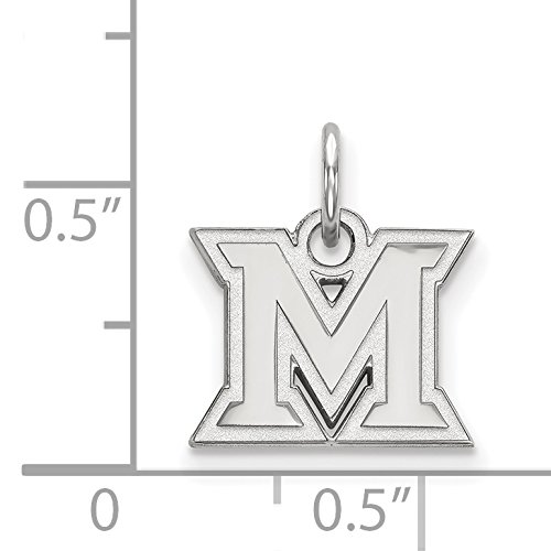 10k White Gold Miami University RedHawks School Letter Logo Pendant 9x12mm
