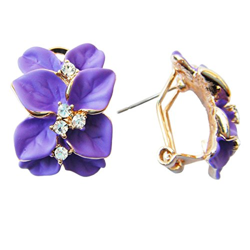(Navachi 18k Gold Plated Crystal Purple Enamel Leaves Flower Omega Earrings )