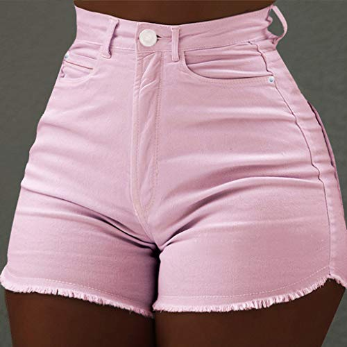 Women,Girl's Casual Solid Color High Waist Slim Pockets Hot Pants Raw Jeans Shorts Summer Daily Causal Pocket Soild High Waist Slim Fit Short Length ()