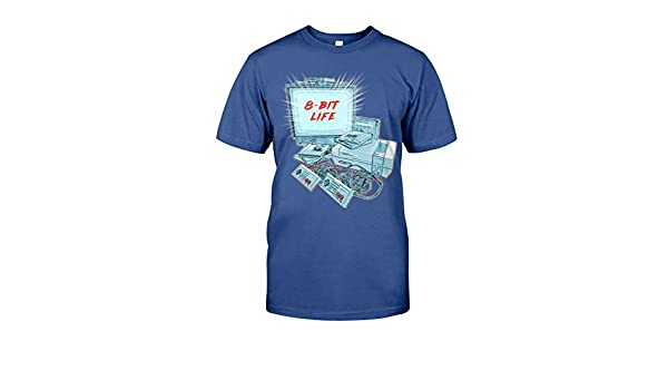 Amazon com: 8-Bit Life Video Game - T-Shirt Metro Blue: Clothing