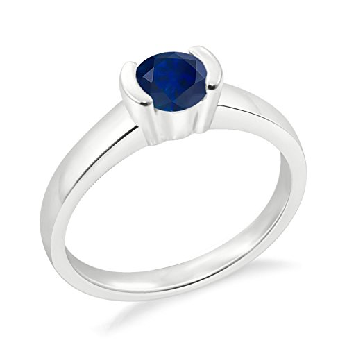 (Diamond Scotch 14k White Gold Plated Solitaire Ring 7mm 1.25 Ctw Simulated Blue Sapphire Bezel Set Single Stone Ring for Her)