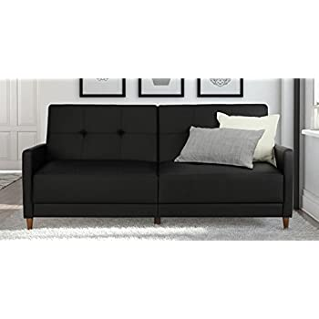 DHP Andora Coil Futon Sofa Bed Couch With Mid Century Modern Design   Black  Faux Leather