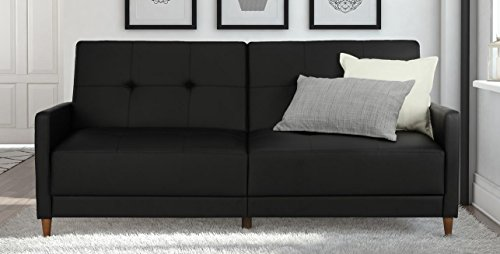 DHP Andora Coil Futon Sofa Bed Couch with Mid Century Modern Design - Black Faux Leather
