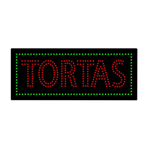LED Tacos Tortas Burritos Open Light Sign Super Bright Electric Advertising Display Board for Message Business Shop Store Window Bedroom 32 x 13 inches ()