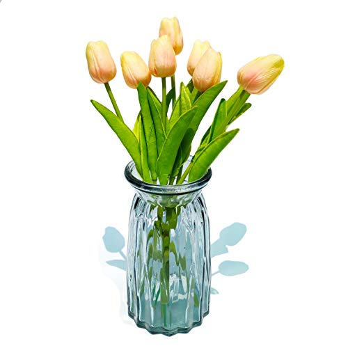 Artificial Tulip 24 Pcs Bulk Fake Holland Mini Tulip Latex-Look Like Real Touch Flowers Eco-Friendly for Wedding Decor DIY Home Party Decoration Champagne