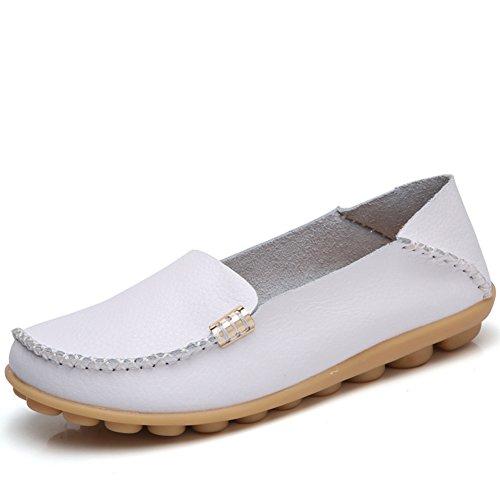 نام تجاری مد DUOYANGJIASHA بهترین نمایش لباس راحتی چرم زنانه راحت گاه به گاه دور انگشتان پا Moccasins لغزش وحشی رانندگی در کفش کفش راحت