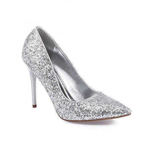La Modeuse recubierto de lentejuelas, zapatos de tacón Plateado - plata