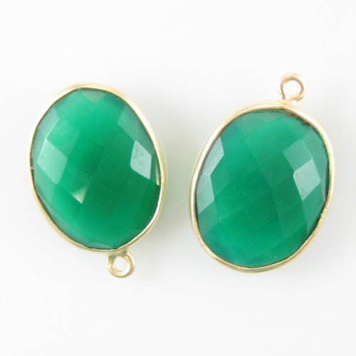 Gemstone Pendant - 14x18mm Faceted Oval Charm - Green Ony...