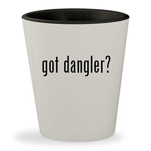 got dangler? - White Outer & Black Inner Ceramic 1.5oz Shot Glass Casino Danglers