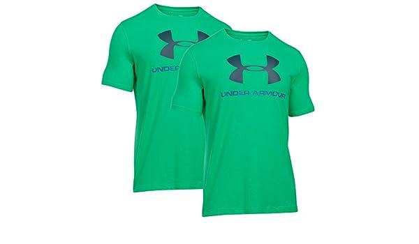 88e92a0096380 UNDER ARMOUR Hombres HeatGear flojo Charged logotipo del deporte del estilo  algodón de la camiseta 2 Paquete (verde azul