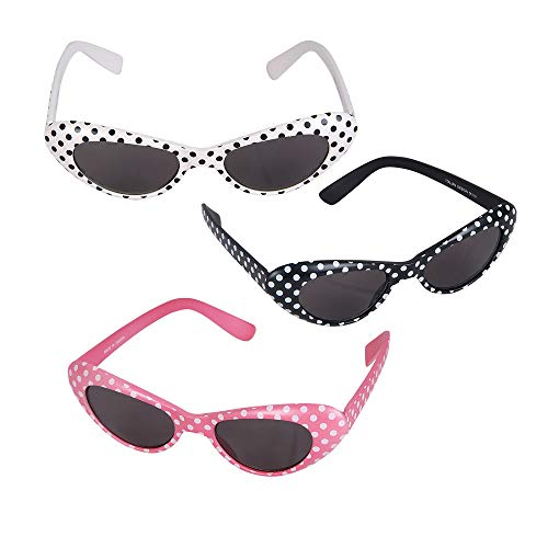 Slumber Party Costume For Halloween (Retro Polka Dot Cat Eye Sunglasses, 1)