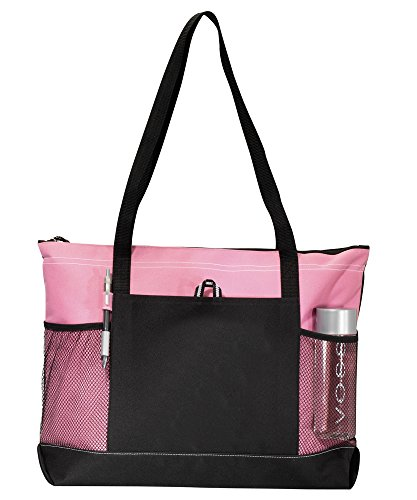 Select Zippered Tote (Assorted Colors) - Can Be Embroidered (Peony Pink) ()