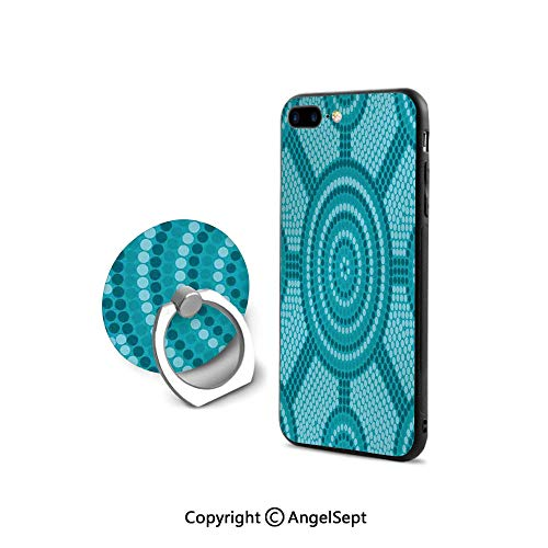 Protective Case Compatible iPhone 7/8 with 360°Degree Swivel Ring,Abstract Aboriginal Dot Painting Ancient Native Ethnic Cultural Art in Australia,Cushion Protective Cute Case,Teal