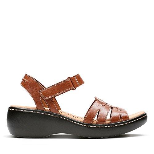 Clarks Delana Nila Leather Sandals in Dark Tan ZXApDNJa