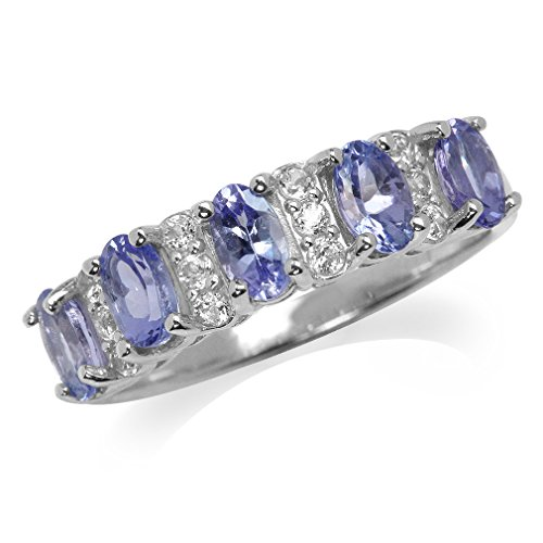 Silvershake 1.3ct. 5 Stones Genuine Tanzanite and White Topaz 925 Sterling Silver Ring