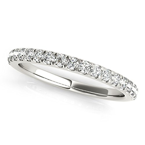 MauliJewels 1/4 Carat Round Diamond Wedding Band in 14K Solid White Gold