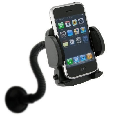 Ipod Nano Black Neck Strap - Fosmon Goose Neck Car Mount Winshield Suction Cellphone Holder for the HTC EVO 4G LTE / ONE - Black