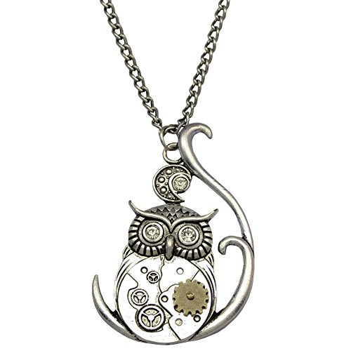 Necklace Free Gift Box (Steampunk Necklace Steampunk Ornate 3D Owl Moon Watch Clock Hand Gear Cog Steampunk Chain Fancy Dress Necklace with Free Gift Box for Women and Teens)