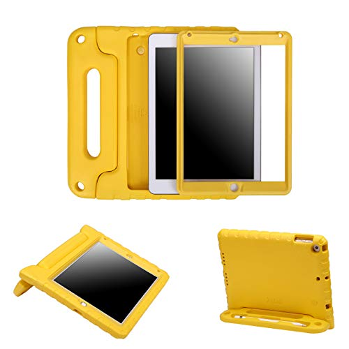 HDE Case for iPad 9.7-inch 2018 / 2017 Kids Shockproof Bumper Hard Cover Handle Stand with Built in Screen Protector for New Apple Education iPad 9.7 Inch (6th Gen) / 5th Generation iPad 9.7 - Yellow