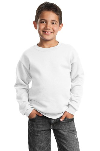 Port & Company - Youth Crewneck Sweatshirt. PC90Y, White, X-Small