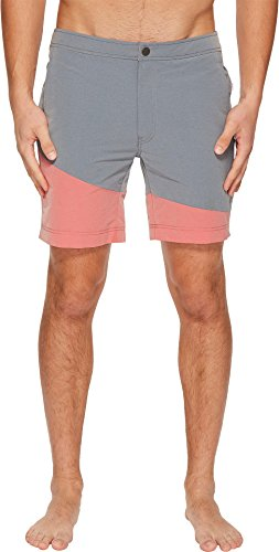 onia Men's Calder 7.5 Color Block Swim Shorts Washed Navy/Cardinal Red 34 by onia