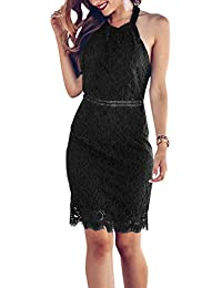 Women's Sleeveless Lace Floral Elegant Cocktail Dress Crew Neck Knee Length for Party