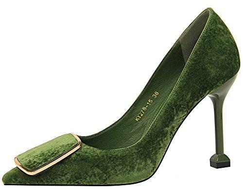 Pumper Pull on Solid Grønne Voguezone009 Lukkede sko Sprekk Tå Kvinners Burst Pekte OEZxxwzqA