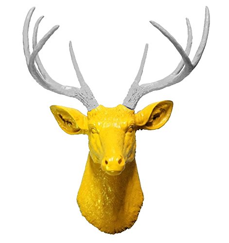 Amazon.com: White 8 Point Deer Head with Yellow Antlers | Faux ...