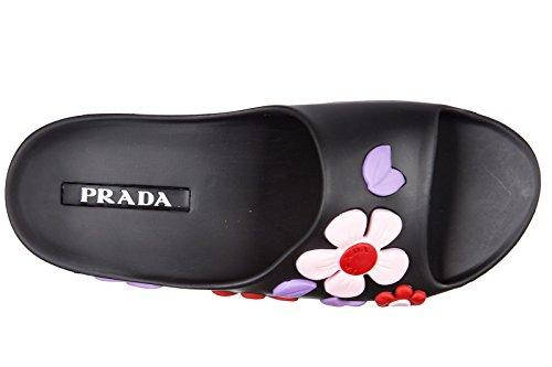 Prada mules sandales chaussons femme en caoutchouc flower noir
