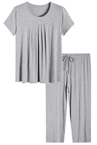 Latuza Women's Pajamas Pleated Loungewear Top and Capris Pjs Set L Light Gray (Best Pajamas For Night Sweats)