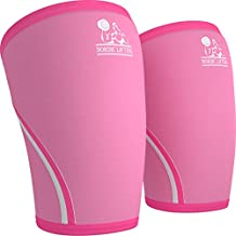 Knee Sleeves (1 Pair) Support & Compression for the Best Squats, 7mm Neoprene - by Nordic Lifting (S, Pink)