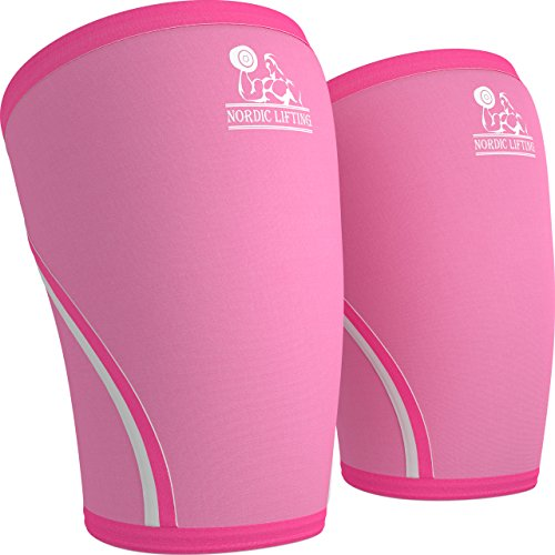 Knee Sleeves (1 Pair) Support & Compression for The Best Squats, 7mm Neoprene - by Nordic Lifting (L, Pink)