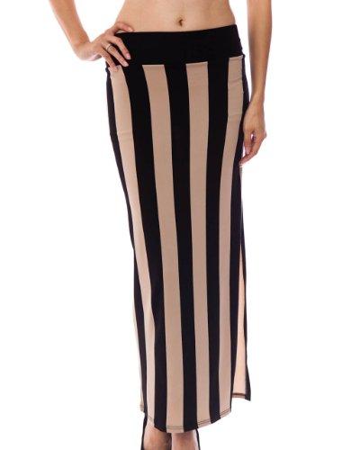Mocha Black Ladies Vertical Striped Banded Waist Slit Skirt
