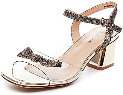 d495445c40397 2019 summer new open toe thick with bow commuter rhinestone ...