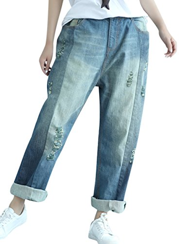 Youlee Women's Elastic Waist Wide Leg Harem Trousers Hole Jeans Style 12
