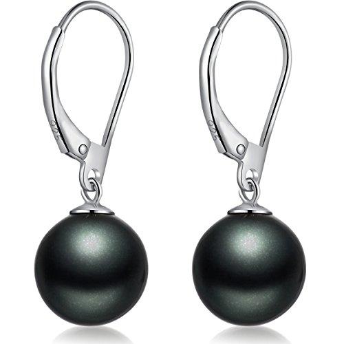 Black Dangle Pearl Earrings,Sterling Silver 10mm Pearl Earrings,Women Pearl Earrings Black Pearl Dangle Earrings,Pearl Drop Earrings Hypoallergenic Black Pearl Earrings,Imitation Pearl Earrings