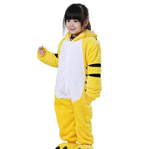 ABING Halloween Pajamas Homewear OnePiece Onesie Cosplay Costumes Kigurumi Animal Outfit Loungewear,Yellow Tiger Chidren Size 95 -for (Tiger Outfit Kids)