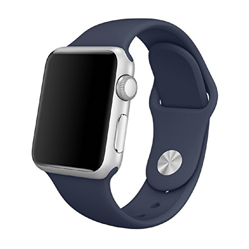 AWSTECH Soft Silicone Sport Style Replacement iWatch Strap for Apple Wrist Watch 38mm All Models - Royal Blue