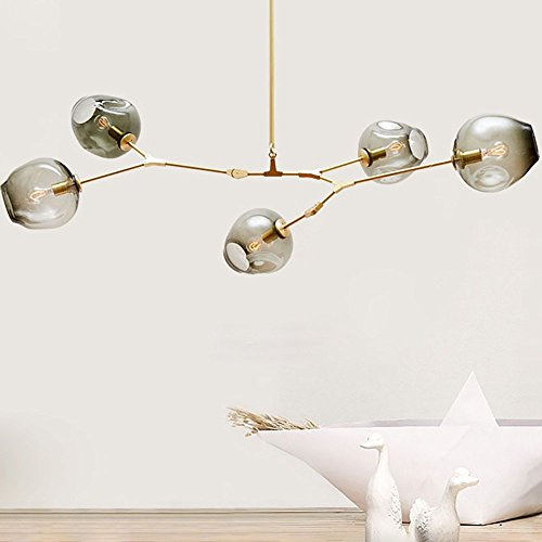 RS Lighting Nordic American Retro Creative Art Tree Branches Smoked Color Glass Bubble Ball 5-Light Chandeliers Restaurant Gold Aluminum Alloy Living Room Pendent Lights (5-Light, - Glasses Branches