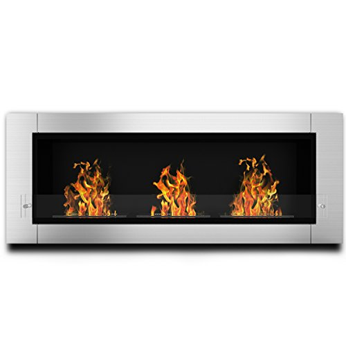 Traditional Gel Fuel Fireplace - Elite Flame Lenox Ventless Bio Ethanol Recessed or Wall Mounted Fireplace